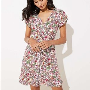 LOFT jungle ruffle pocket dress NWOT